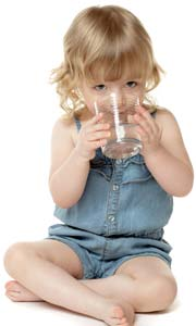Cute Little Girl Drinking Water