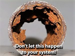 corroded pipe in home